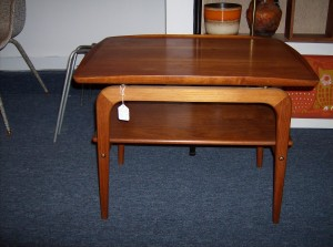 """Super sleek - high quality Danish teak 2 tier end table w/really nice curves - Dimensions - 26""""L - 18.75""""W - 21"""" H -(SOLD)"""