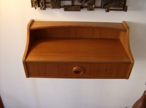 """Fantastic teak wall shelf w/drawer - made in Sweden circa 1960's/70's - quality piece - great for an entrance way/beside your bed... you decide!! It measures 17.75""""L  8.25""""D 8.25"""" H - (SOLD)"""