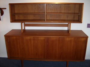 """Made in Denmark by Dyrlund circa 1960's - Would look perfect in your mid-century modern home - condition -  there is slight bubbling on the top in the center area, it is hard to photograph, as it can only be seen at certain angles, at any rate it is a really nice piece  for this incredible price of only (SOLD)    Measurements - Buffet -L- 59.5"""" Depth - 16.5"""" height - 29.5""""  Hutch - L - 53"""" Depth - 9.5"""" Height - 22.5"""""""