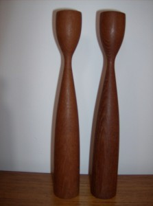 "Super sleek Danish modern teak candlesticks - one of them is missing the metal insert - 12"" high - (SOLD)"