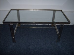 """1960's Chrome and glass coffee table - great design/quality/and a great price and good vintage condition - dimensions 41"""" long X 21""""wide X 16"""" height - $195"""