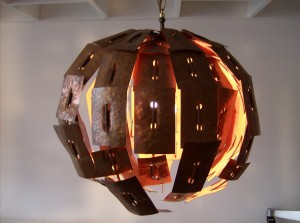 Check out this super crazy, super cool 1970's metal and copper hanging light - created in Edmonton at the U of A for a Thesis project - One of a Kind - (SOLD)