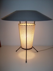 """Killer 1950's atomic table lamp - wrought iron tripod legs - the fiberglass torso is in great condition - the unusual grey metal top has some paint loss, but still looks fab - it stands 19.5"""" high - (SOLD)"""