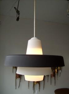 Fabulous Mid-century modern metal/glass pendant light - super nice condition - $95