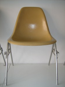 Original vintage Eames for Herman Miller fiberglass side chairs on stacking bases - color - mustard yellow - 2 available at (SOLD)