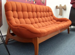 Super Groovy Mid-century modern teak sofa - the upholstery is in good condition, and is a fabulous rusty orange color - (SOLD)