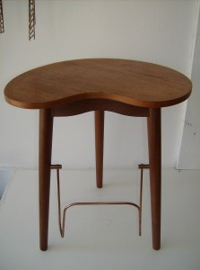 """Very unique (pretty rare)1950's Danish teak end table - this piece also has a place for magazines on the bottom, and a flip put tray that probably used to hold a pack of cigarettes back in the day - nice vintage condition -measurements - 15""""L X 12""""D X17""""H  - (SOLD)"""