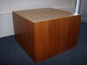 """Incredible 1960's teak/cork end tables and or coffee table by R.S. Associates - Montreal Canada - 2 available - they are both in really fantastic condition - they measure - 2ftX2ftX16""""high - Both SOLD"""