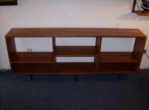 """Fantastic Mid-century modern teak bookshelf/room divider - super sleek & functional - condition is good a 7.5 out of 10 - it measures - 6ft long X 12""""depth X 29.5""""high - (SOLD)"""