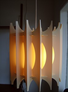 1960's cream colored Danish pendant light - a interesting design - a great light to add warmth to a room - (SOLD)