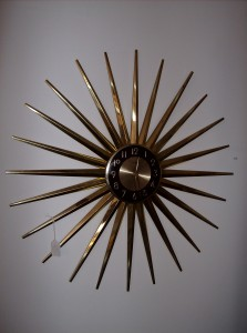 """WOWZA - Unbelievabley large vintage starburst wall clock by Ingram - 28"""" diameter - some of the brass finish has come off in a few of the spikes - Only - (SOLD)"""