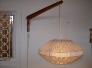 Marvelous Mid-century modern teak wall light with an interesting fabric over wire shade - a great alternative to a table and or floor lamp - super functional - (SOLD)