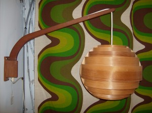 Spectacular Mid-century modern teak wall light w/and incredible shade constucted with thin wood strips - brilliant - major wow factor - (SOLD)
