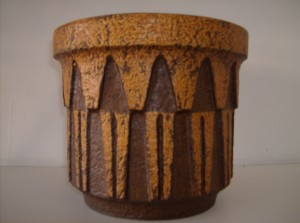 """Fantastic vintage West German pottery planter - stunning design - great colors/great texture - a must have for any Mid-century modern West German pottery collector - 8""""tall X 9""""across - (SOLD)"""