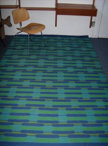 """Unbelievably striking Mid-century modern Danish wool carpet - 9ftX70"""" - really good condition - very vibrant - (SOLD)"""
