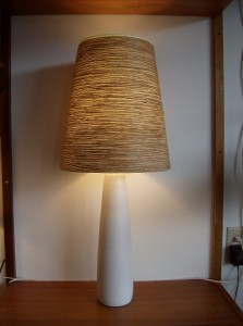 """Absolutley stunning Original vintage designer Lotte Bostlund ceramic lamp base w/ a new original Lotte lampshade - Mid-century modern lighting at it's best - 2 available(A PAIR) - they measure - 18.5""""without the shade and 34""""w/the shade - (SOLD)"""