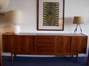 """Spectacular Mid-century modern teak sideboard - loads of storage in this beauty- sliding doors on either side with 4 drawers in the middle - this piece measures - 94.5""""L X 19.25""""D X 32""""H - (SOLD)"""