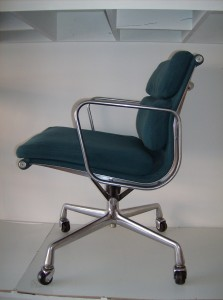 Eames for Herman Miller Softpad Management Series chair - Aluminum frame with a bluey green upholstery - this model has the tilt swivel mechanism and the seat height is adjustable - super price - (SOLD)