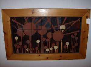 """This piece of painted tile art is Mind-blowing, very Atomic - this piece measures 28.75"""" X 18"""" - (SOLD)"""