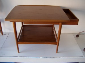 Spectacular Danish teak 2 tier table w/sliding drawer - super high quality craftmanship by Danish maker Moredo - every detail is exquisite - (SOLD)
