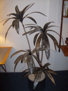 Super cool vintage metal palm tree sculpture that illuminates from the pot upwards to create a wonderful glow at night - it is really quite spectacular - (SOLD)