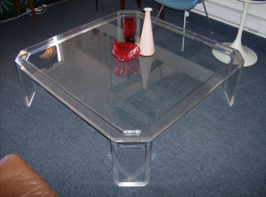 """Out of Sight 1970's Lucite and glass coffee table - overall great condition - this killer piece measures 47"""" X47"""" - would make a great dinner party table - just throw some large cushions down  and your set - (SOLD)"""