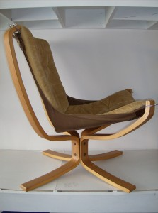 """A spectacular vintage Sigurd Ressell """"Falcon chair"""" manufactured by Vatne Norway - this bentwood/canvas/fabric chair just oozes coolness - a definate must have for a Modernist enthusiast - the condition is really good, however there is some minor wear on the corners of the canvas under the cushioned seat - nothing a quick hand stitching wouldn't fix -  the fabric is a muted dijon mustard color - (SOLD)"""