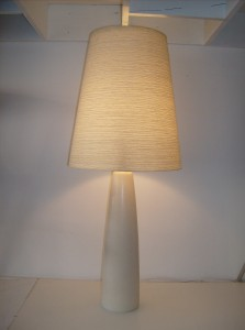 """Very striking Mid-century modern ceramic lamp w/ it's original fiberglass shade by Dainsh designer's Lotte and Gunnar Bostlund  - made in Canada - this lamp measures 21.5"""" tall without the shade and 34.5"""" tall with the shade - (SOLD)"""