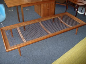 1950's teak daybed by two of Denmark's prized designer's Peter Hvidt and Orla Molgaard-Nielsen - manufactured by France and Daverkosen - Denmark - the cushion is not original - but it comes with new foam covered in a steel blue color fabric(not shown) - (SOLD)