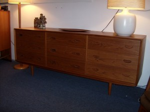 """1960's Danish teak 9 drawer dresser with lovely dovetailed drawers and beautifully carved pull - spectacular craftmanship - excellent condition - this piece measures 75.75""""L X 18.5""""D X 29.5""""H - (SOLD)"""