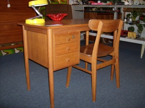 """Lovely small vintage teak desk and chair - 3 drawers nicely dovetailed - comes with key for locking the top drawer - great for small spaces, it measures 39.5""""L X 29""""H X 21.5""""D - (SOLD)"""