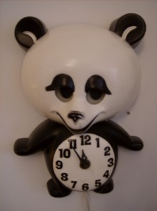 1950's Panda Bear wall clock by Spartus Corp - Louisville,Missouri - keeps great time... his eyes move back and forth, oh so cute... - (SOLD)