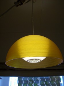 Fantastic vintage pendant light - made by the company Gilbert of Canada - excellent condition - stunning glow - (SOLD)