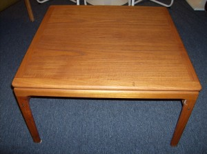 """Beautiful Danish teak coffee table by Trioh - lovely graining and patina - 29.5"""" square by 16.5 Height - (SOLD)"""