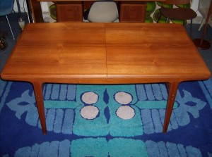 Spectacular 1950's Danish teak dining table by the Great Finn Juhl - nice condition - a beauty - comes with a leaf - (SOLD)