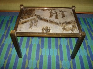 """Exquisite designer end table by Artists/designers - Philip and Kelvin Laverne - circa - 1960's - American - New York - description - Acid etched - patinated brass over pewter & wood - excellent condition - dimensions - 26""""X19""""X17""""H - (SOLD)"""