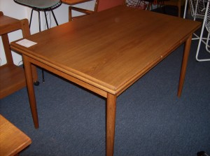 """Fantastic Danish teak dining table w/hidden extendable leaves at either end - excellent condition -beautiful grain - this beauty measures - 48""""Lx32""""Wx29.5""""H add another 18""""per leaf - (SOLD)"""
