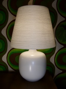 Spectacular Original Vintage ceramic lamp w/ the original lampshade by Danish/Canadian designers Lotte and Gunnar Bostlund - a perfect speciman - this lamp would look fantastic in any home - the glow is magnificent - (SOLD)
